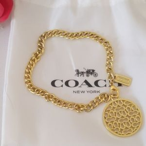 Coach Signature C Circle Charm Bracelet Like New